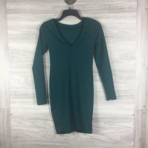 Go Couture Green V Neck Long Sleeve Mini Dress